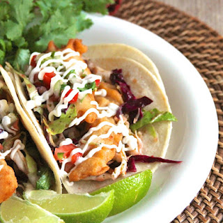 Beer Battered Fish Tacos with Chipotle Slaw.