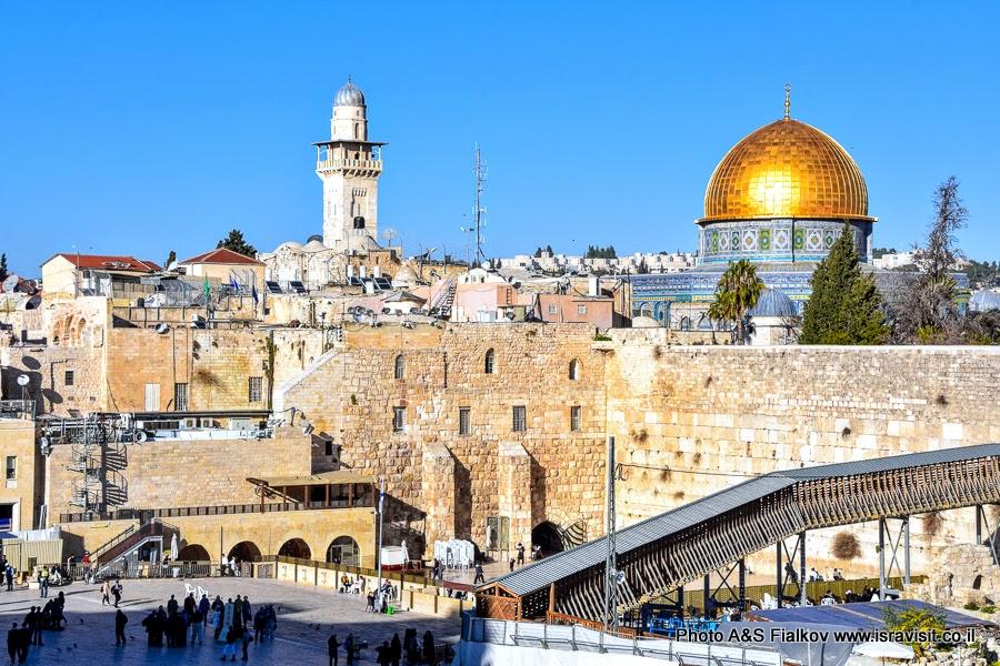 Храмовая гора в Иерусалиме. Стена Плача.