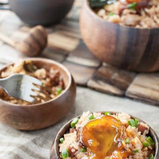 Kimchi Fried Rice // Spam + Soy-cured Egg Yolk.