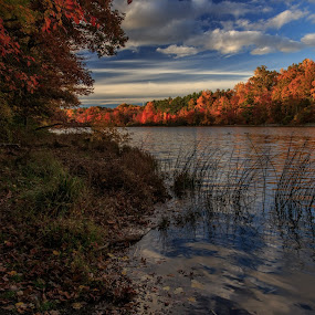 Scotts Run Lake by Troy Snider - Landscapes Waterscapes ( water, autum, sky, color, sunset, fall )