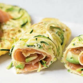 Courgetti Egg Rolls With Smoked Salmon And Avocado.