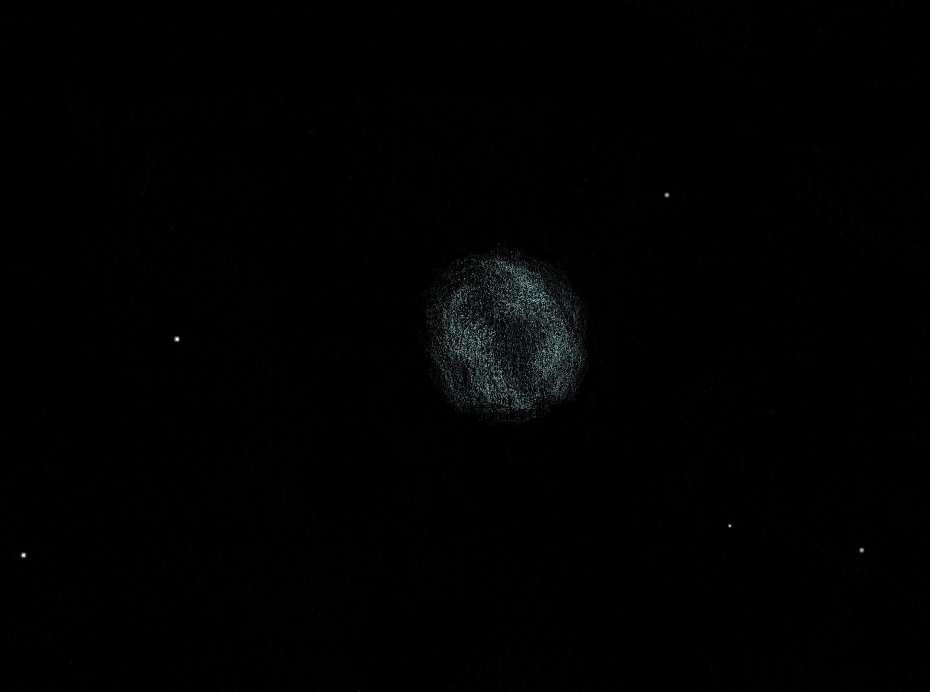 Photo: NGC 6818 dans le Sagittaire, «Little Gem» (près de la galaxie de Barnard). 440X et OIII. T406, Restefond 2017. Jolie nébulosité qui me rappelle un peu ngc 1514 (en nettement plus petite) à cause des deux lèvres irrégulières.