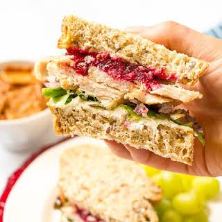 Leftover Thanksgiving turkey cranberry cream cheese sandwich.