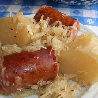 Polish sausage , Sauerkraut and potatoes ( CROCKPOT ).