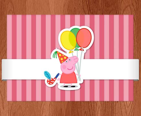 frente do convite personalizado tema Peppa Pig