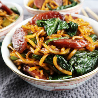 Chow Mein with Chinese Sausage and Gai Lan.