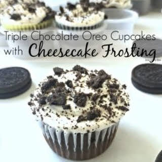 Triple Chocolate Oreo Cupcakes with Cheesecake Frosting.