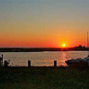 NJ Shore by Denise Zimmerman - Landscapes Waterscapes ( water, island sunset, sunset, boats, orange sky )