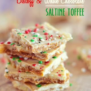 Biscoff and White Chocolate Saltine Toffee