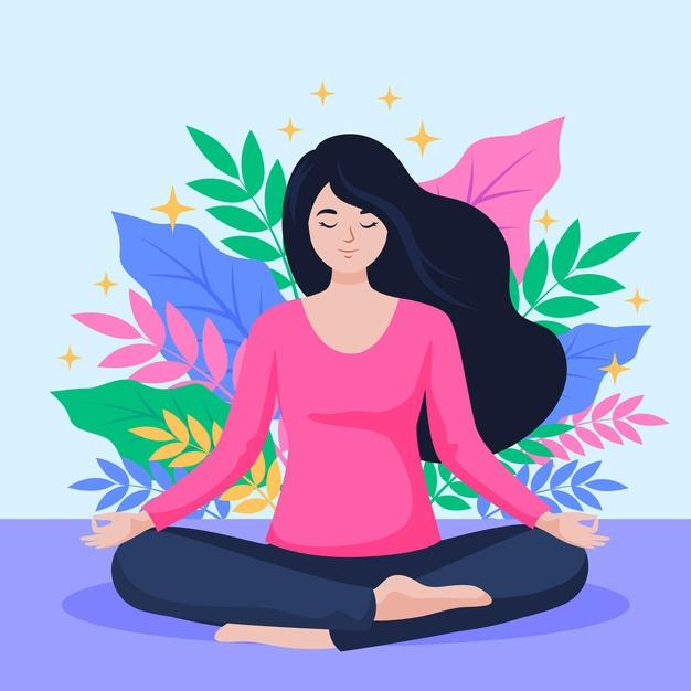 Organic flat person meditating in lotus position Free Vector