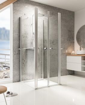 Paroi de douche en U avec portes battantes et 2 parois latérales, 25 à 120 cm