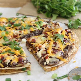 BBQ black bean tortilla pizza.