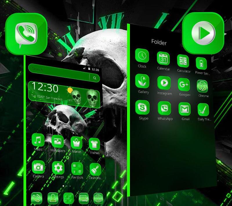 Скриншот Черная зеленая тема черепа