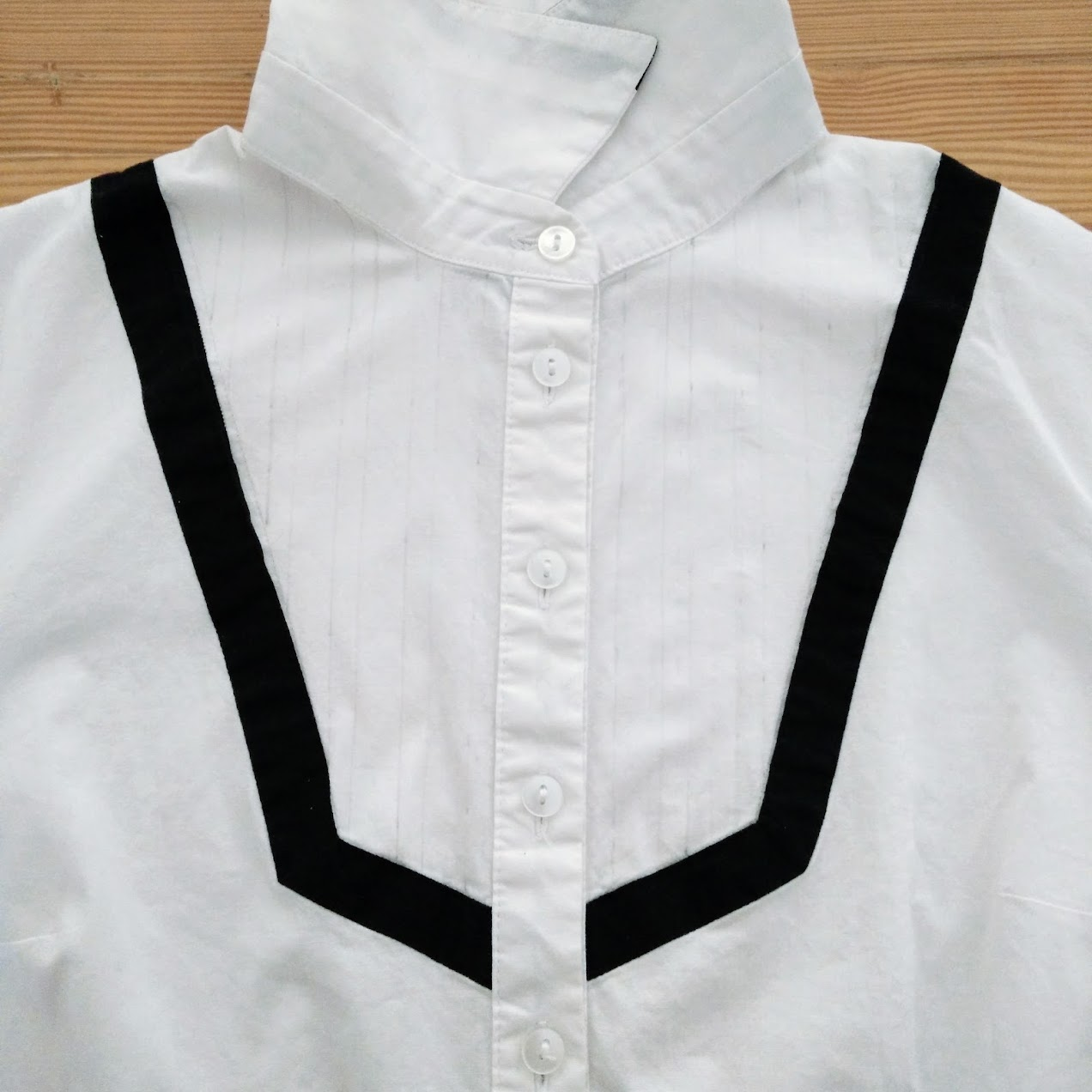 In-Progress: Lace Ribbon Trim Bib Shirt Refashion - DIY Fashion Garments | fafafoom.com