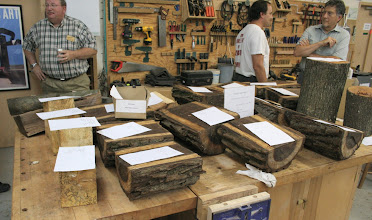 Photo: Storms in the area created a silent auction table of many types of wood including spalted maple, walnut, apple, ....