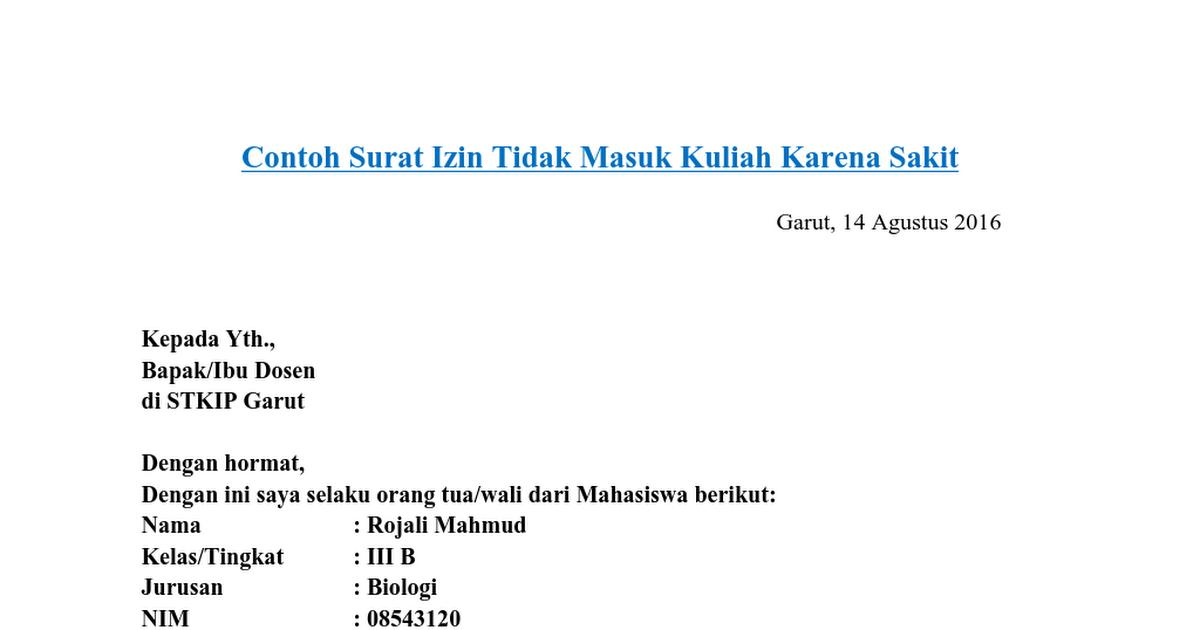 Contoh Surat Izin Tidak Masuk Kuliah Karena Sakitdoc
