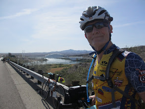 Photo: Klaus at the Colorado river with the White Bridge in the background