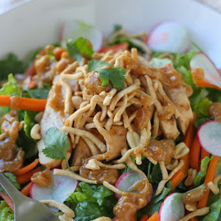 Crunchy Thai Chicken Salad with Peanut Dressing.