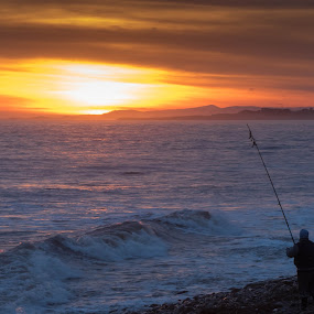 Casting at Sunset by Iain Cathro - Novices Only Landscapes ( scotland, arbroath, sunset, seascape, fisherman )