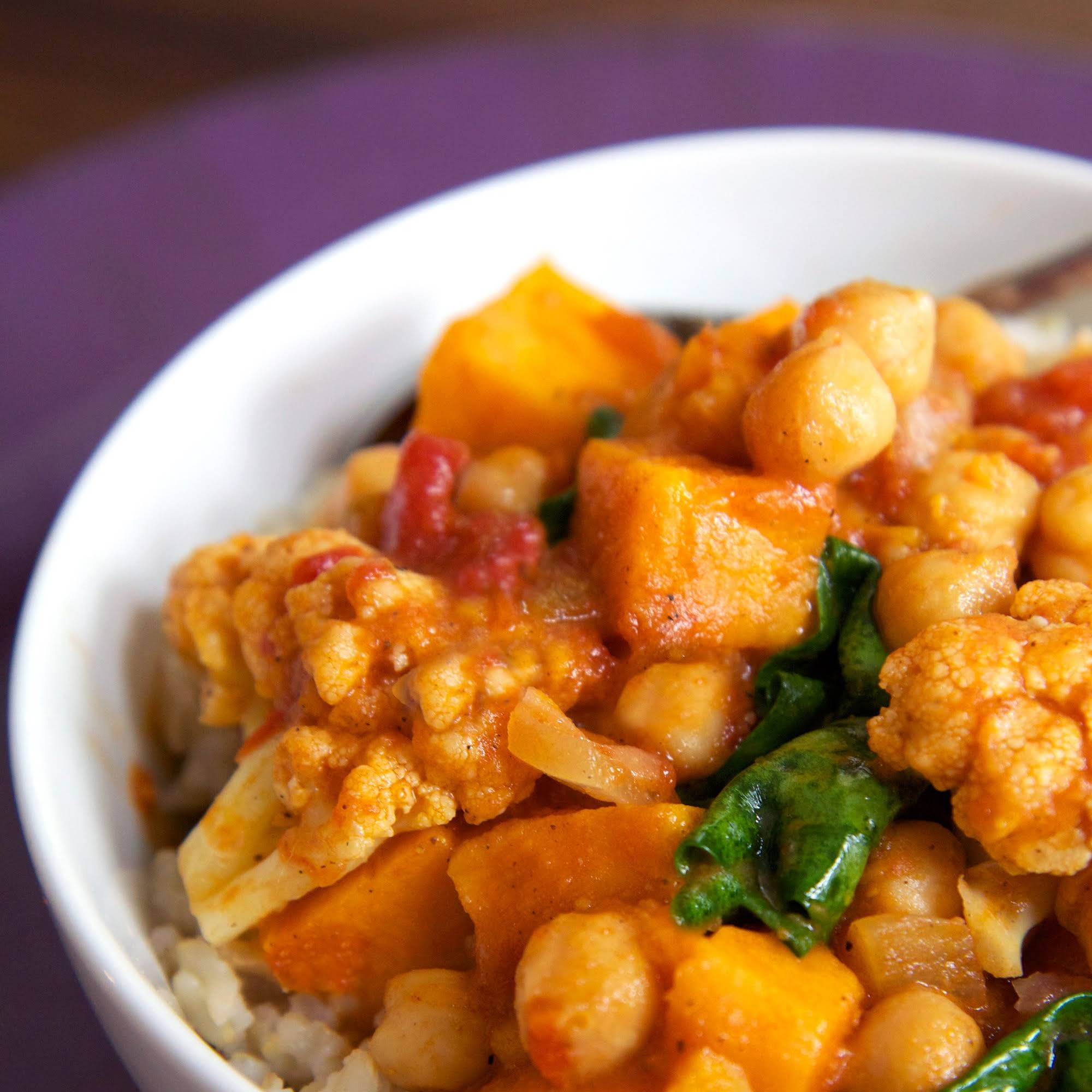 Chickpea Coconut Curry  afterward Sweet Potatoes