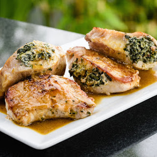 Pork Chops Stuffed with Sun-Dried Tomatoes and Spinach.