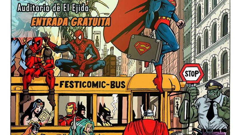 Cartel de Festicómic El Ejido 2019, los días 5 y 6 de octubre de 2019.