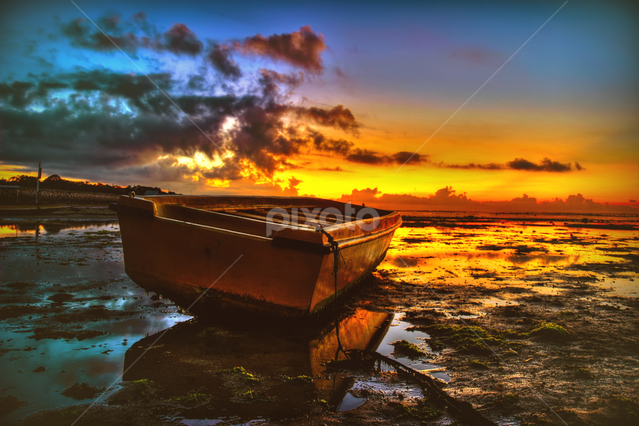 the lonely boat by Awan Berarak - Landscapes Beaches ( colour, cloud, sunrise, beach, landscape, boat, morning,  )