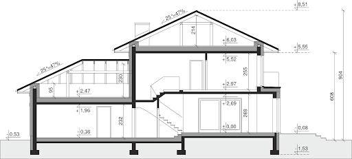 Dom przy Diamentowej - Przekrój