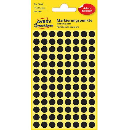 Etikett  8mm rund svart 416/fp