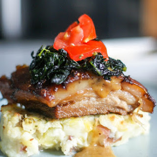 Slow Braised Pork Belly on Rustic Mashed Potatoes
