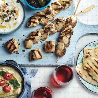Grilled Greek chicken meze platter