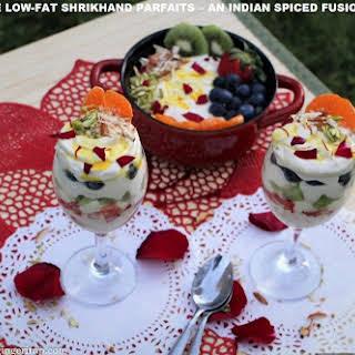 SUGARFREE LOW-FAT SHRIKHAND PARFAITS – AN INDIAN SPICED FUSION DESSERT.