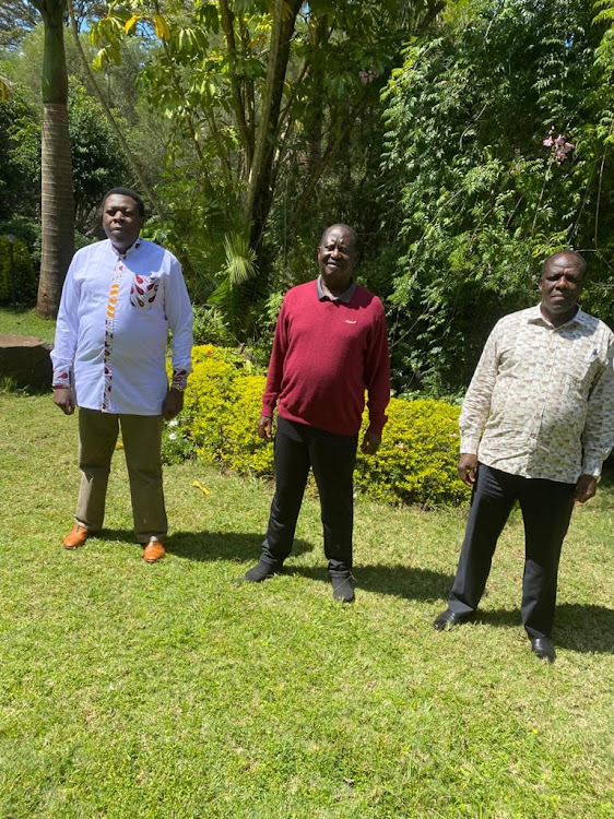 Devolution CS Eugene Wamalwa, ODM leader Raila Odinga and Kakamega Gobvernor Wycliffe Oparanya on April 9, 2021