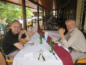 Photo: Peter and Theo at Izaak Walton Inn in Embu