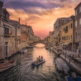 Rio della Misericordia by Ole Steffensen - City,  Street & Park  Neighborhoods ( venice, street, sunset, shops, rio della misericordia, venezia, canal, boat, italy )