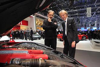 Photo: Sergio Marchionne and Luca di Montezemolo look at the F12berlinetta