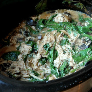 Crockpot Chicken, Mushroom & Spinach (over rice)