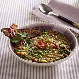 Lentil Soup with Pancetta and Croutons.