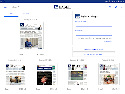 bz Basel E-Paper- screenshot thumbnail