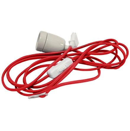 Textstilsladd 5m med strömbrytare Porslinssockel E27 röd