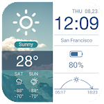 Multifunctional Weather Clock Icon