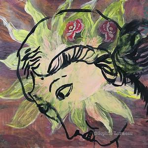 lady-woman-femme-radiuese-soleil-sun—light-yellow-jaune-portrait-face-visage-sophielormeau-lormeau-artiste-peinture-french-artist-art-tableau-paper-magazine-colorful-naif-naiv-contemporain-