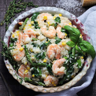 Shrimp Risotto with Spinach and Asparagus.