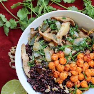 Harissa Chickpeas, Black Rice & Mushrooms