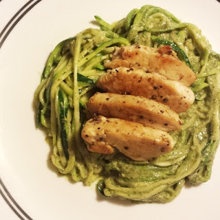 Creamy Avocado Pesto Pasta with Zucchini Noodles (Zoodles)