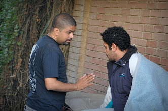 Photo: Ahmad Abdalla with Film star Asser Yassin On the set of Rags & Tatters - Cairo 2013