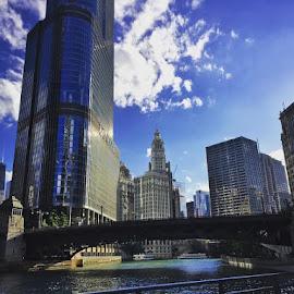 Chicago Morning by David Plummer - City,  Street & Park  Skylines ( chicago river, hancock, trump hotel, bridge, chicago )