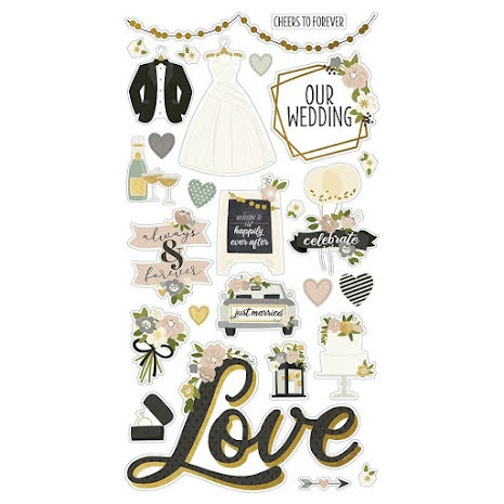 Simple Stories Chipboard Stickers 6X12 - Happily Ever After