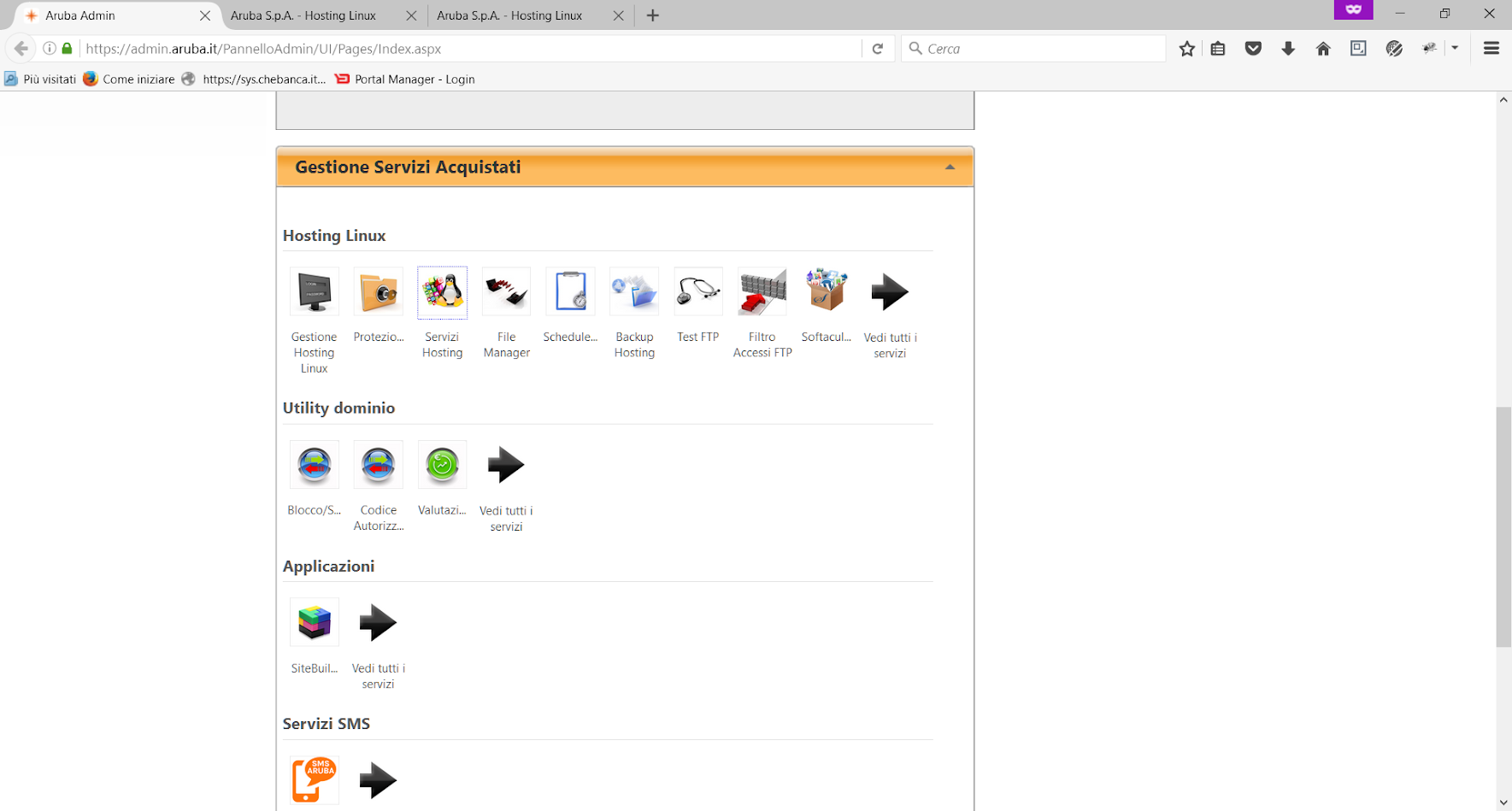 Aruba Pannello di Controllo - Servizi Hosting Linux
