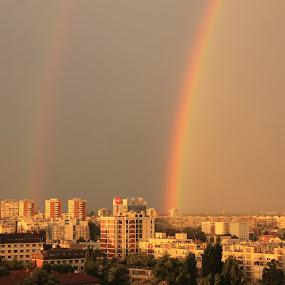 Rainbow by Bozica Trnka - City,  Street & Park  Skylines ( rainbow, rain, colour, storm, zagreb, sun,  )